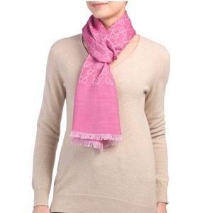 Pink Gucci GG Monogram Wool & Silk Blend Scarf